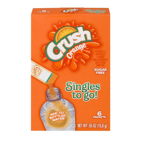 Crush Singles To Go! Low Calorie Drink Mix Sugar Free Orange - 6 PK, 0.55 OZ