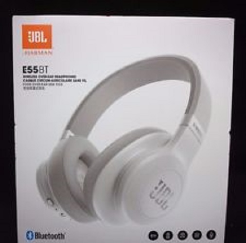 Refurbished JBL E55BT Over-Ear Wireless Headphones White
