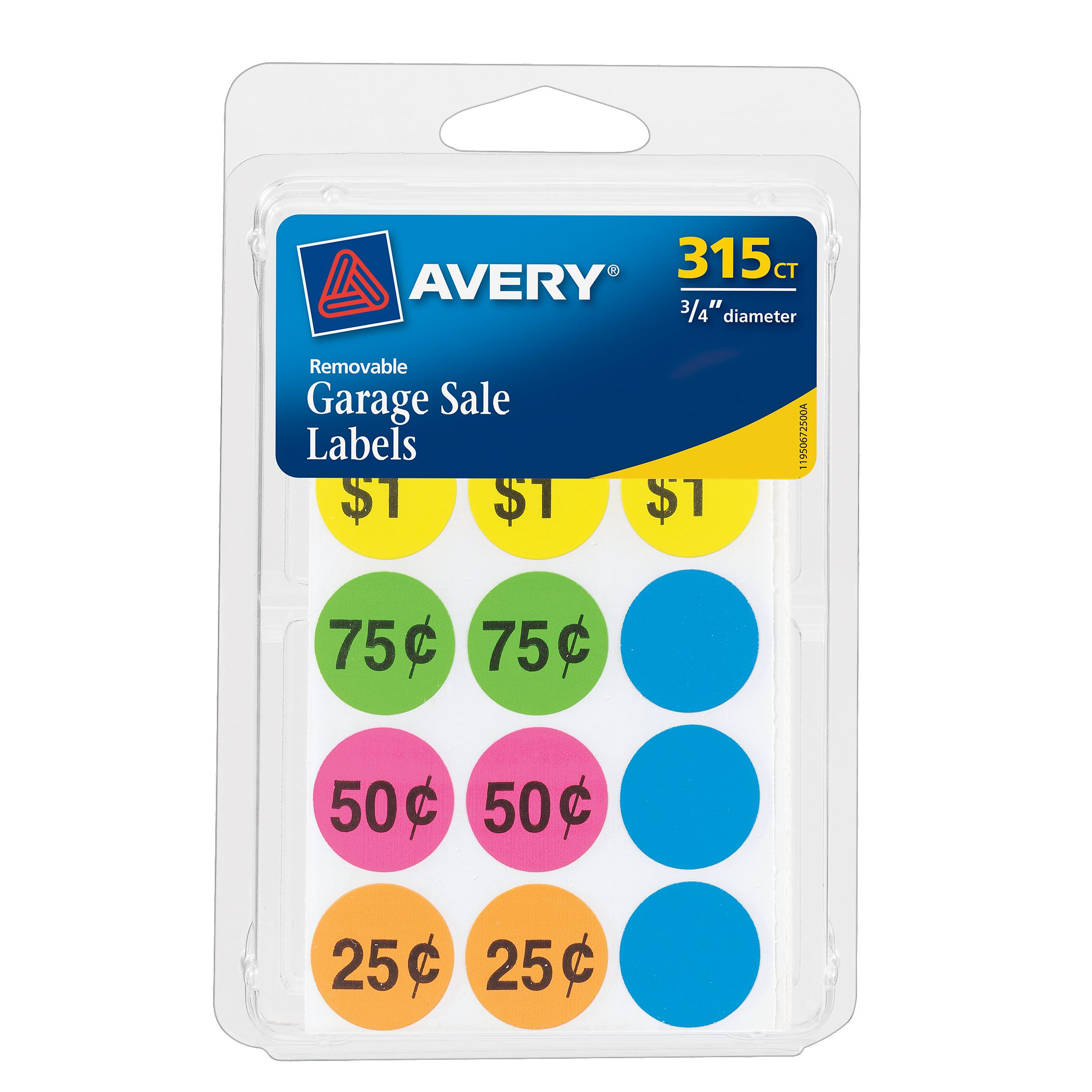 "Avery Assorted Neon Removable Garage Sale Labels  3/4"" Round, Pack of 315 (06725)"