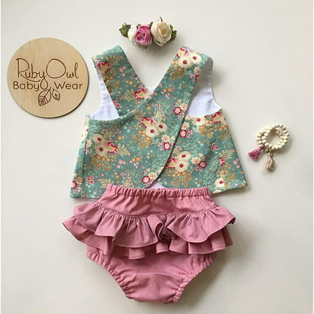 Summer Flower Newborn Baby Girls Outfit Clothes Sleeveless Tops T-shirt + Tutu Skirt Shorts Pants Set](Custom Tutu For Toddlers)