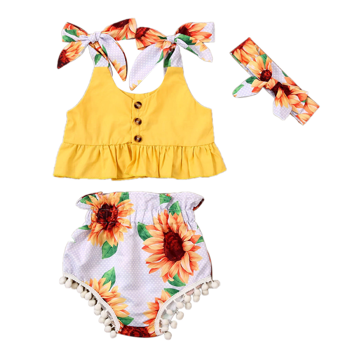 Toddler Baby Girl Clothes Set 3Pcs Sleeveles Outfit Crop Tops Headband Camouflage Short Pants