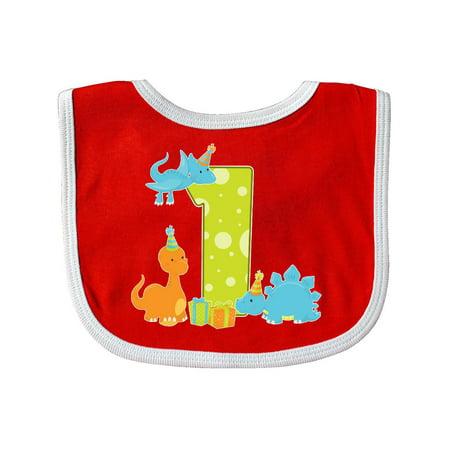 Dinosaur First Birthday Party Baby Bib