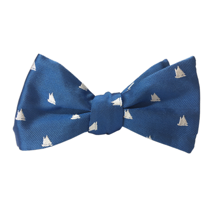Lifelines Apparel Adjustable Length Nautical Self Tie Silk Bow Tie for Men, Blue - Nautical Tie