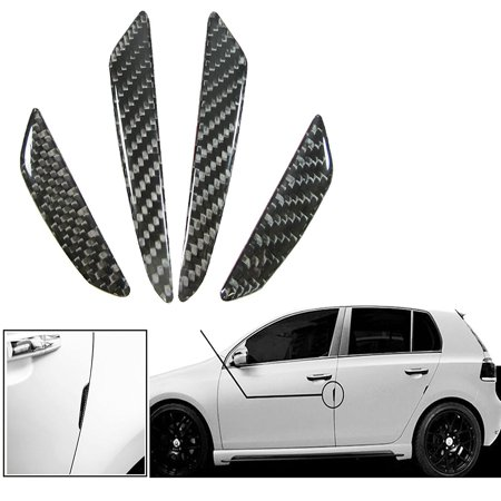 Xotic Tech 4 Pieces Black Real Carbon Fiber Car Side Door Edge Protection Guards Trim (Carbon Fiber Trim)