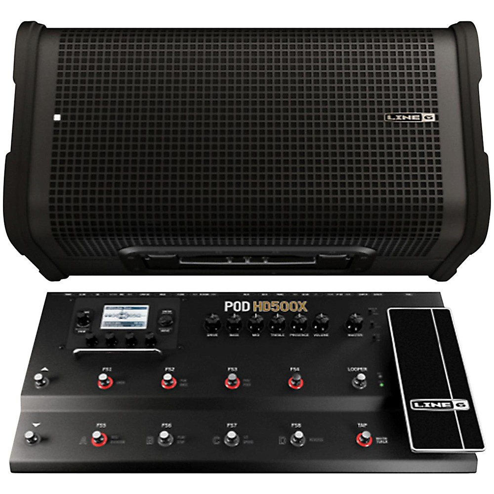 Line 6 POD HD500X Multi-Effects Processor with StageSource L2M Amp / Loudspeaker