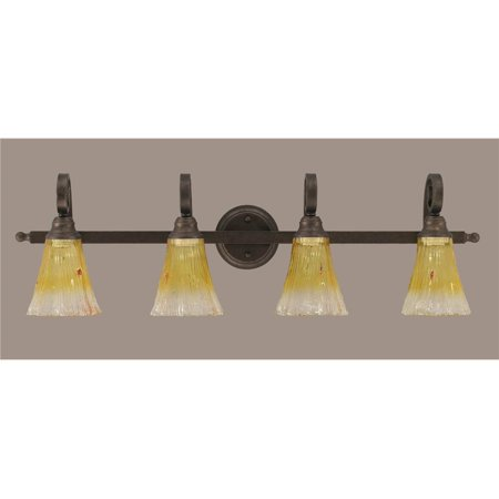 curl 4 light bath bar fixture in bronze with 5 5 in gold champagne. Black Bedroom Furniture Sets. Home Design Ideas