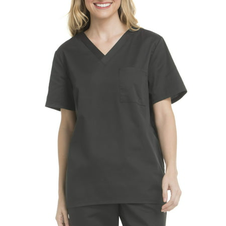 Scrubstar Unisex Core Essentials V-Neck Single Pocket Scrub Top Black Print Scrub Top