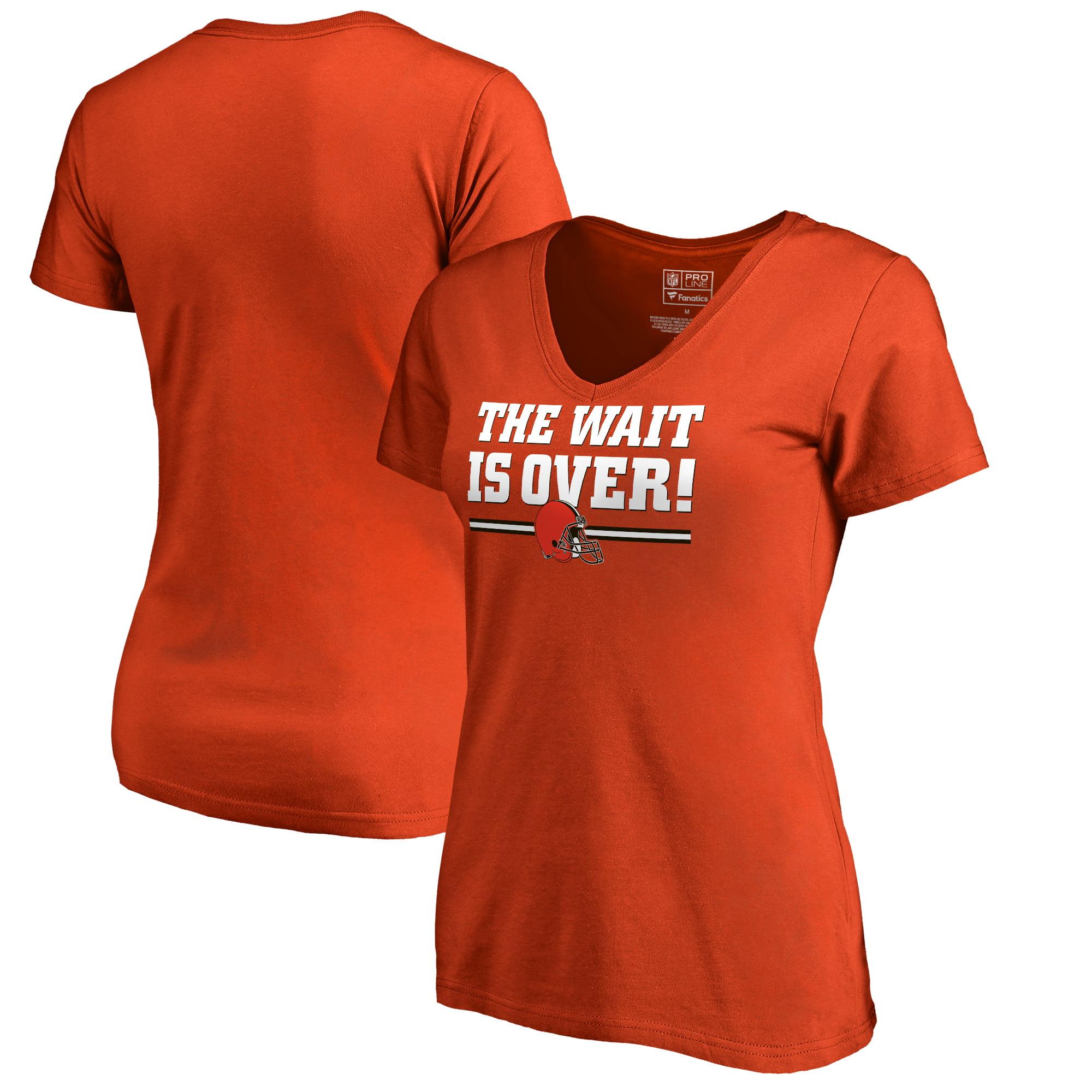 Cleveland Browns NFL Pro Line by Fanatics Branded Women's The Wait Is Over V-Neck T-Shirt - Orange