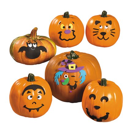 Fun Express - Small Pumpkin Faces Craft Kit for Halloween - Craft Kits - Home Decor Craft Kits - 3 - D Tabletop - Halloween - 12 Pieces - Pumpkin Faces For Halloween