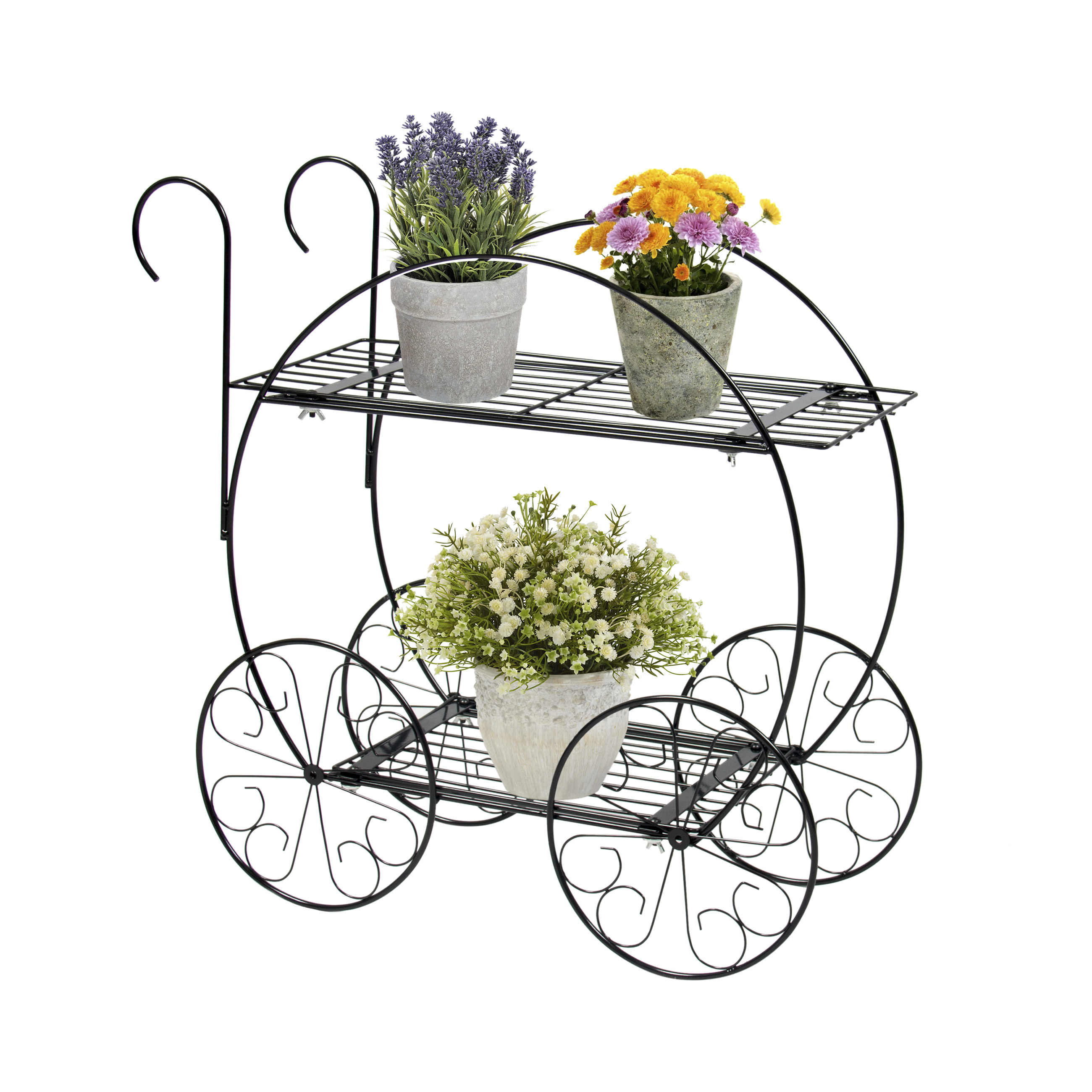 Best Choice Products 2-Tier Decorative Steel Garden Cart Plant Holder Stand for Home Decor, Patio, Flowers, Pots - Black