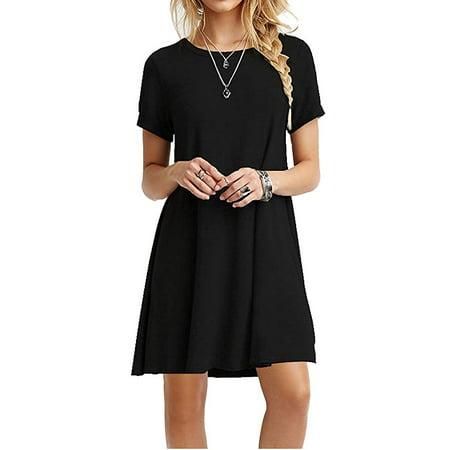 Women's Casual Plain Short Sleeve Simple T-Shirt Loose Dress ()
