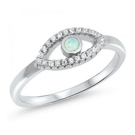 925 Sterling Silver Evil Eye Lab opal Gem (Sterling Silver Lab)
