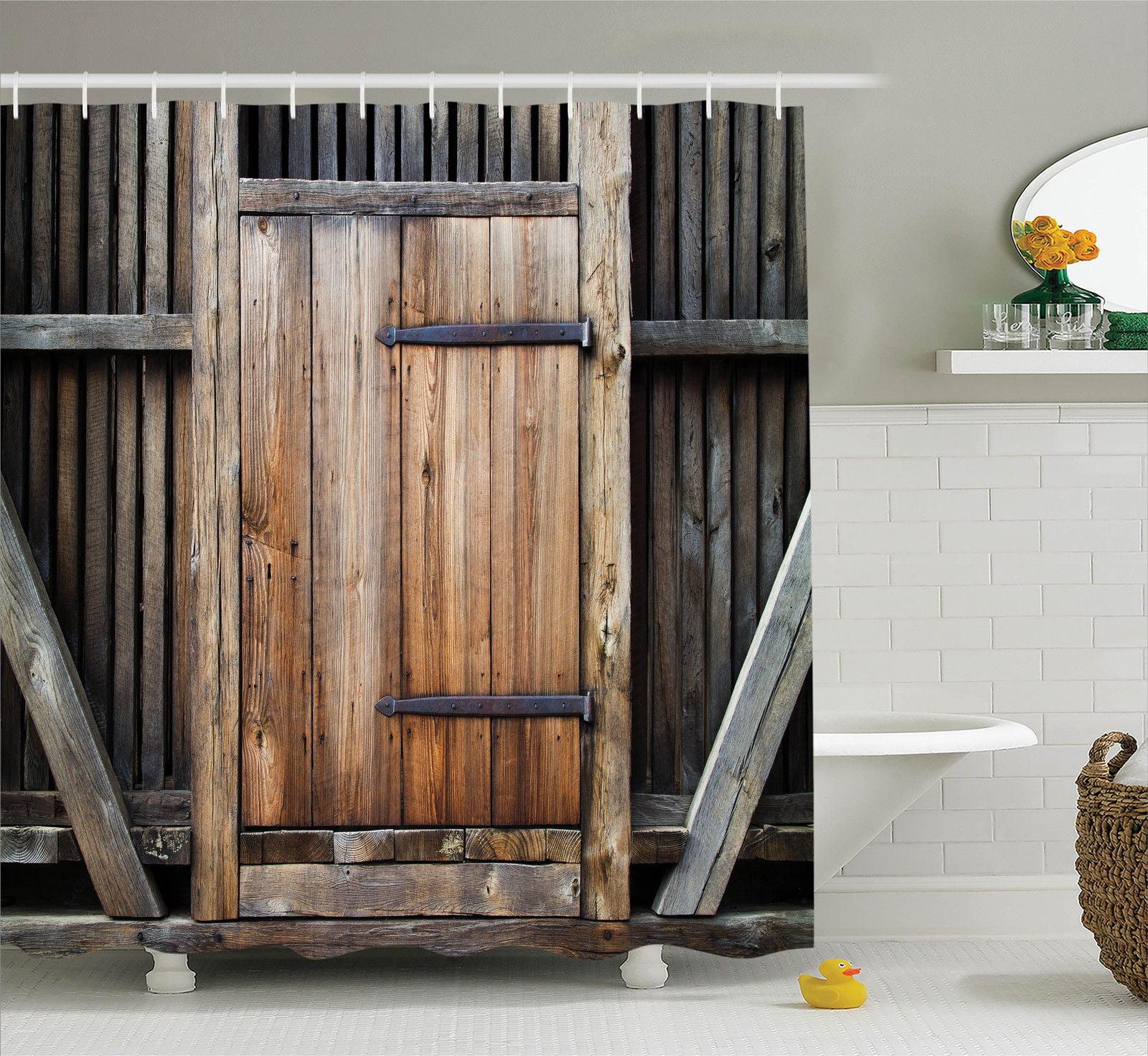 Antique Decor Shower Curtain Set Rustic Antique Wooden Door