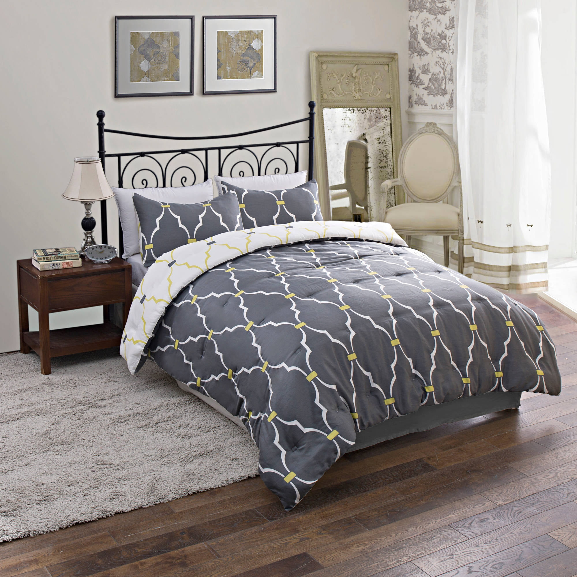 reversible leaves com pc comforter floral home white silver blue trellis kitchen scroll amazon embroidery set king dp