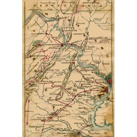 Virginia Theatre  Regional map of Virginia Maryland and Pennsylvania showing the Potomac River and its tributaries Poster Print by Robert Knox (Map Of Potomac Mills)