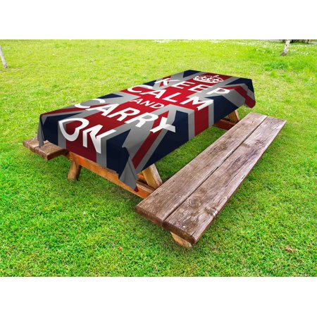 Union Jack Outdoor Tablecloth, Keep Calm and Cary On Quote Crown Figure United Kingdom Britain Flag, Decorative Washable Fabric Picnic Tablecloth, 58 X 104 Inches, Navy Blue Red White, by Ambesonne