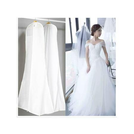 72'' Dustproof Breathable Non-woven Wedding Dress Storage Bridal Gown Clothes Garment Zip Bag Dust Cover White Carry Garment Bag Wheels