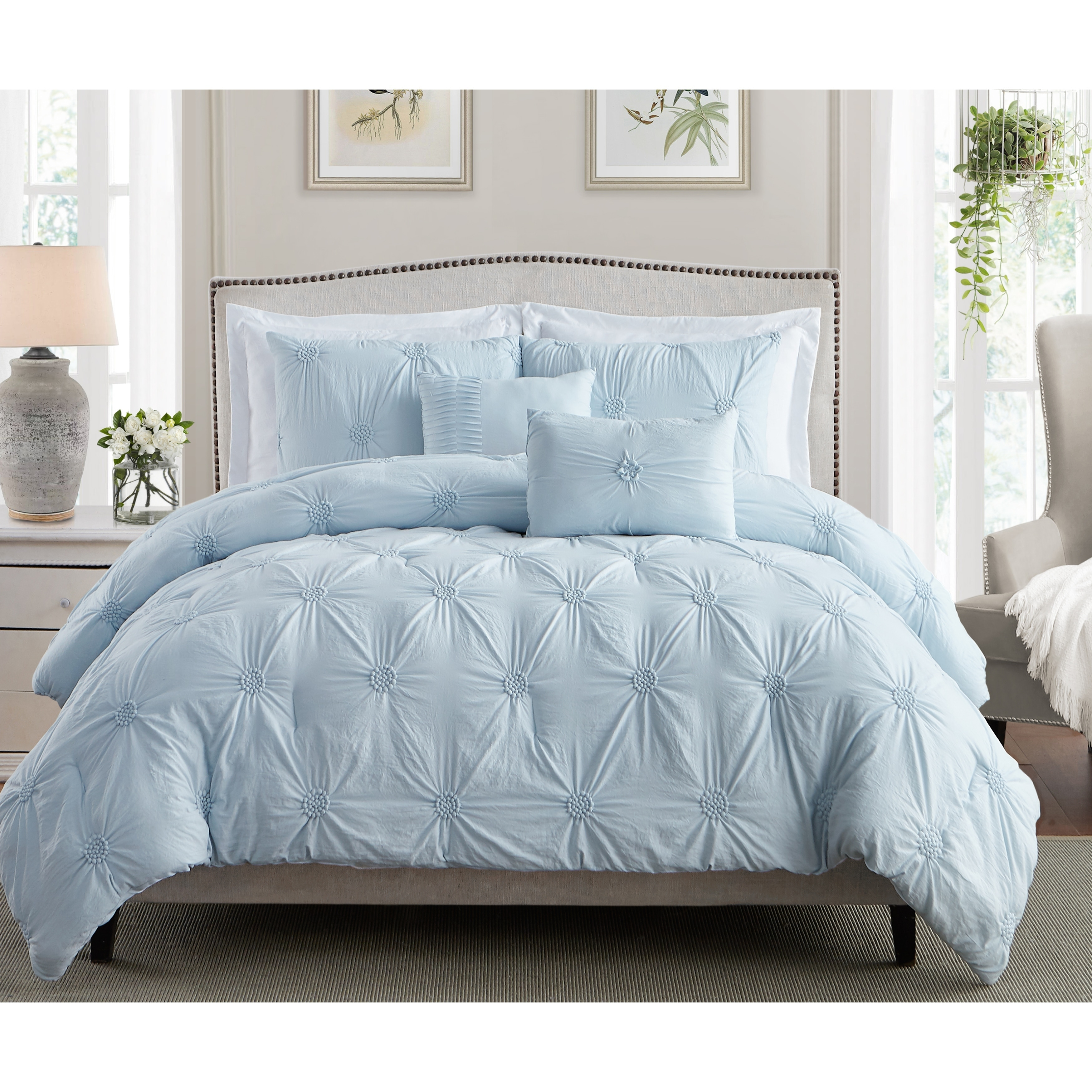 Swift Home Premium Bedding Set Collection 2-Piece Floral Ruched Pinch Pleat Pintuck Comforter Set Twin//Twin XL Gray
