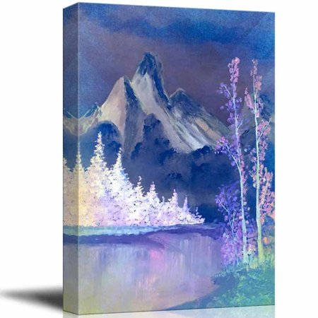 wall26 Beautiful Scenery of Mountain and Lake Nature Landscape at Night - Giclee Print Canvas Wall Art Oil Painting Reproduction Modern Home Decor Ready to Hang - 24