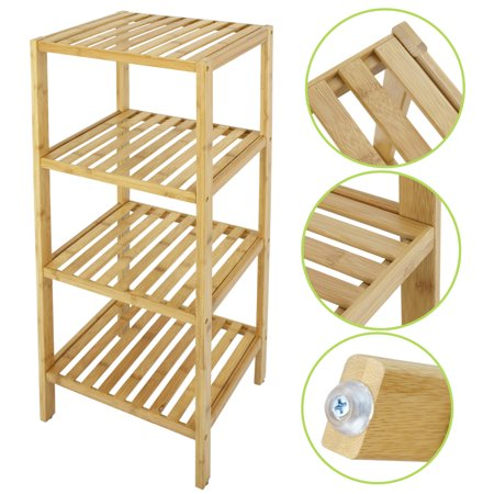 Zeny 4-Tier Bamboo Bathroom Shelf Towel Rack Shelf Storage Rack ...