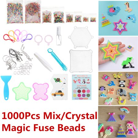 Sticky Toys (1000/6000 Mix/Crystal M agic Fuse Beads Tool Set 24 Colors Water Sticky Beads DIY Refill Water Spray Art Crafts Toys for Kids Adult Children)