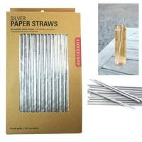 144 Kikkerland Metallic Silver Design Paper Straws Box Birthday Party Supplies