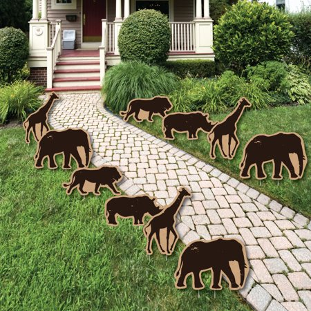 Wild Safari - Lawn Decorations - Outdoor African Jungle Adventure Birthday Party or Baby Shower Yard Decorations - 10 Ct - Safari Decorations
