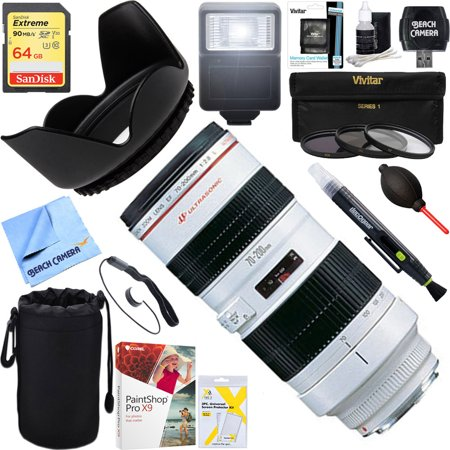 Canon (2569A004) EF 70-200mm F/2.8L USM Lens + 64GB Ultimate Filter & Flash Photography (Best Canon Lenses For Photography)
