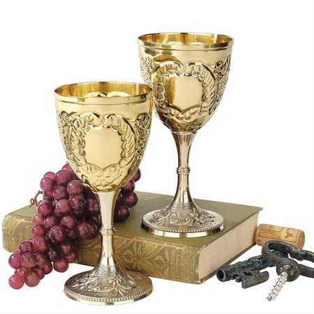 Design Toscano The King's Royal Chalice Embossed Brass Goblets: Set of Two