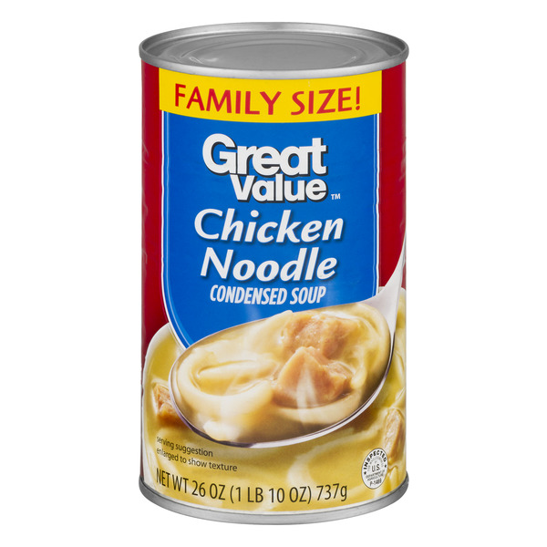 Great Value Chicken Noodle Canned Soup, Family Size, 26 oz
