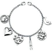 "Little Luxuries Stainless Steel Love Charm Link Bracelet, 7.5"""