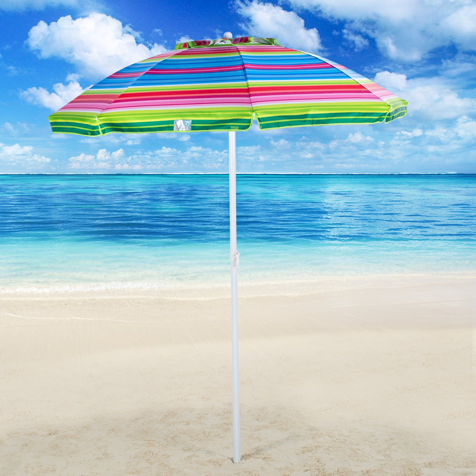 0d4be928ed77 Rio Brands 6 ft. Tilt Beach Umbrella with Carry Bag - Stripe - Walmart.com