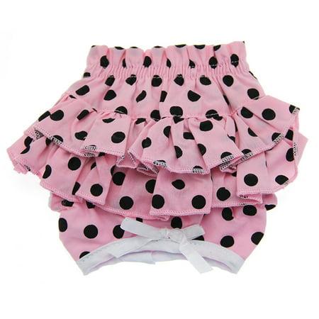 Pink Polka Dot Panties - Polka Dot Ruffles Dog Panties by Doggie Design - Pink and Black - Medium
