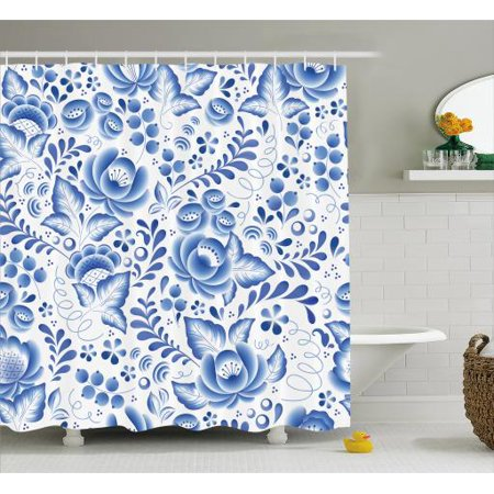 Vintage Blue Shower Curtain Chinese Style Traditional Motif Floral Pattern With Berries Leaves Fabric