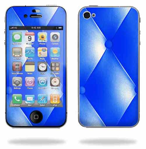 Mightyskins Apple iPhone 4 or iPhone 4S AT&T or Verizon 16GB 32GB Cell Phone wrap sticker skins Blue Upholstery