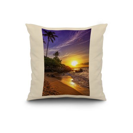 Sunset Palm Lantern Press Photography 20x20 Spun Polyester Pillow Whit