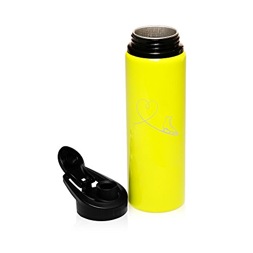 25 oz Aluminum Sports Water Travel Bottle Heart Love Ice Skating (Yellow) by
