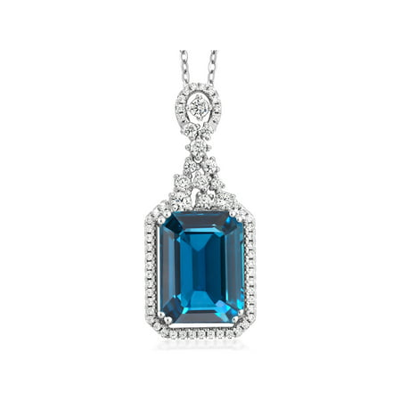 Cut London Blue Topaz Cross (9.10 Ct Emerald Cut London Blue Topaz 925 Sterling Silver)