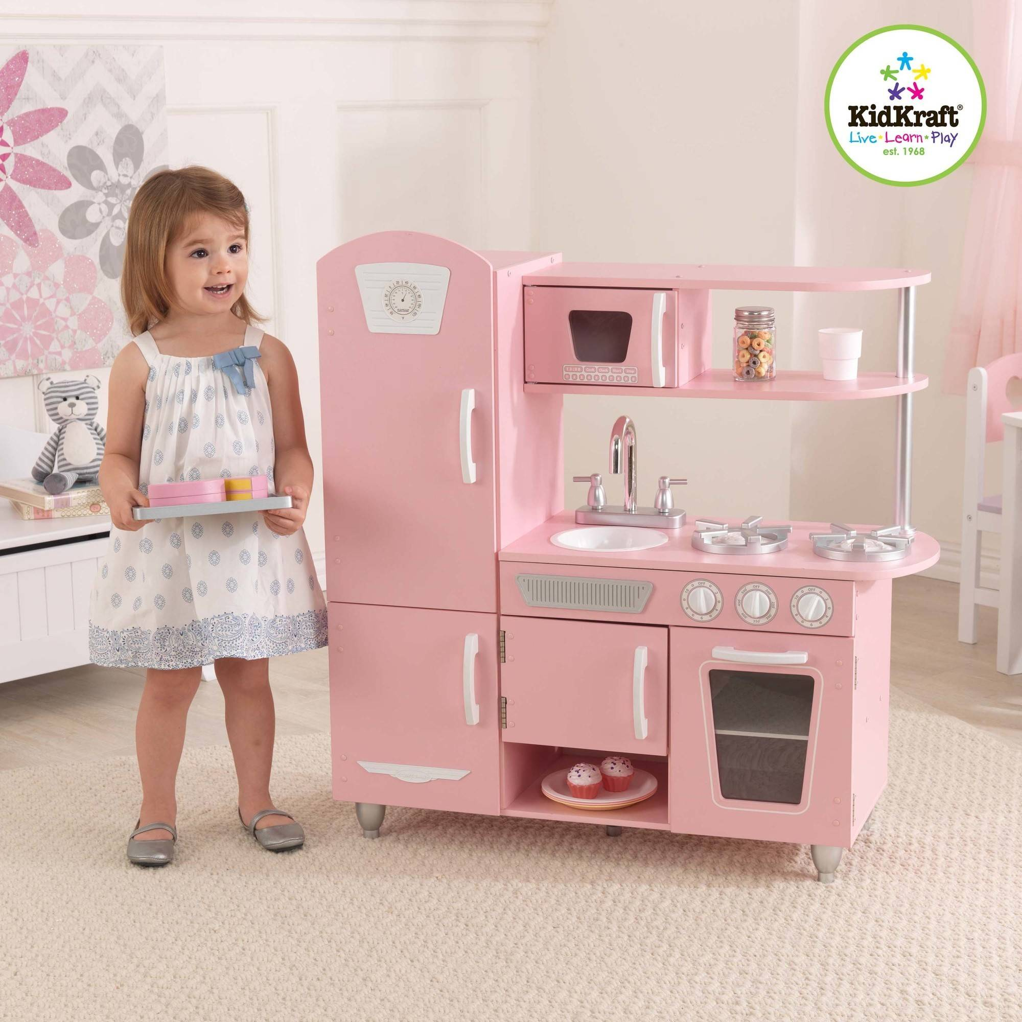 KidKraft Espresso Toddler Play Kitchen with Metal Accessory Set ...