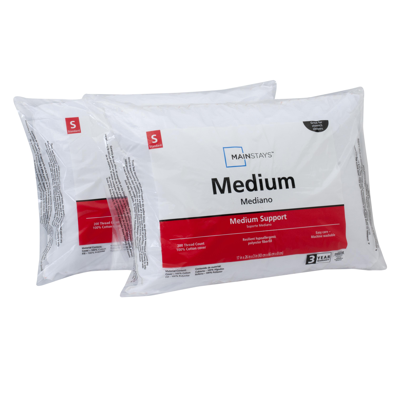 Mainstays Cotton Medium Support Pillow Set of 2, Multiple Sizes