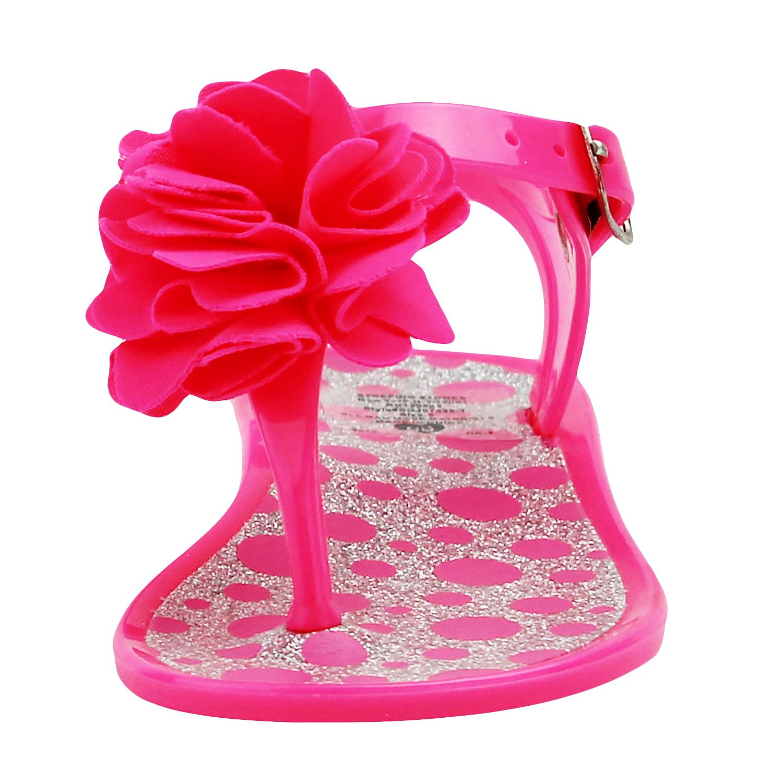 38f172b4d Stepping Stones - Stepping Stones Baby Girls Hot Pink Polka Dot Glitter  Flower Thong Sandal   Jelly Sandals with Backs-Size 6 Infant Toddler Flip  Flops For ...