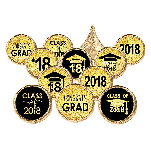 Graduation Party Favor Stickers 324 Count - Black and Gold Graduation Party Decorations Candy Favors Class of 2018 Graduation Party Favors Supplies - 324 Count Stickers