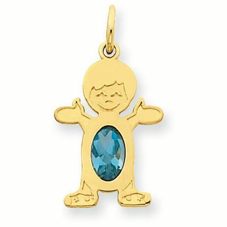 14K Yellow Gold 6 x 4 Oval Genuine Blue Topaz December Birthstone Boy Charm