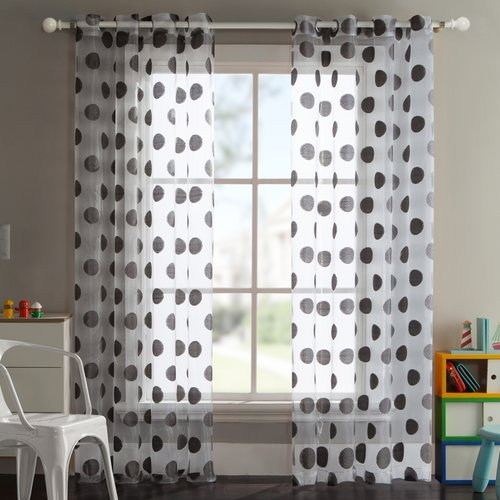 ***DISCONTINUED*** VCNY Home Sophie Polka Dot Sheer Grommet Top Window Curtain Panel