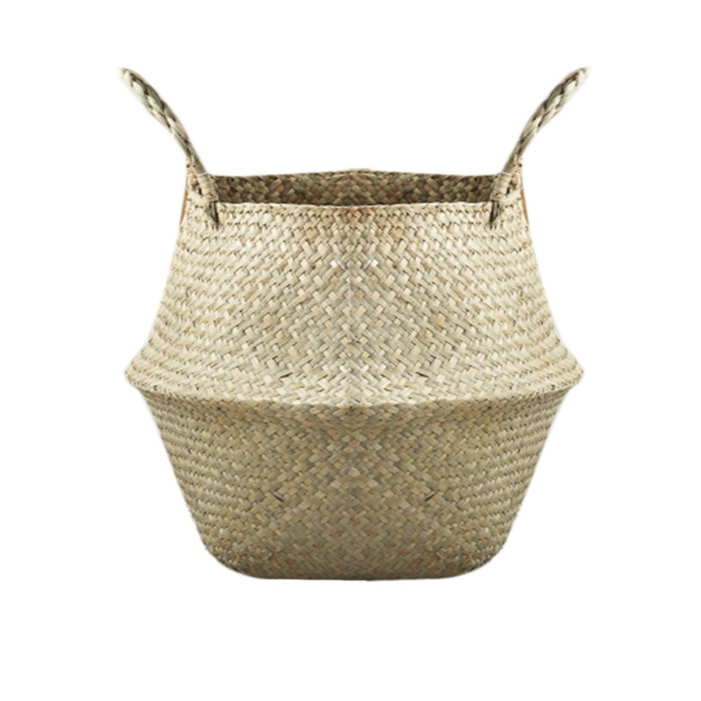 Foldable Natural Seagrass Woven Storage Pot Garden Flower Vase Hanging Basket With Handle Storage Bellied Basket