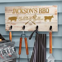 Personalized Chillin' & Grillin' Wood Tool Rack