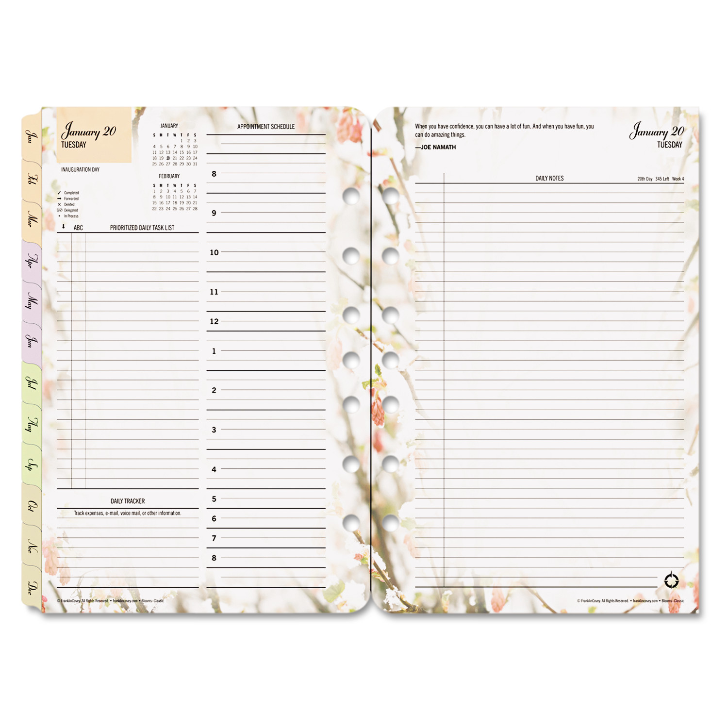 Blooms Dated Daily Planner Refill, January-December, 5 1 2 x 8 1 2, 20 by Franklin Covey