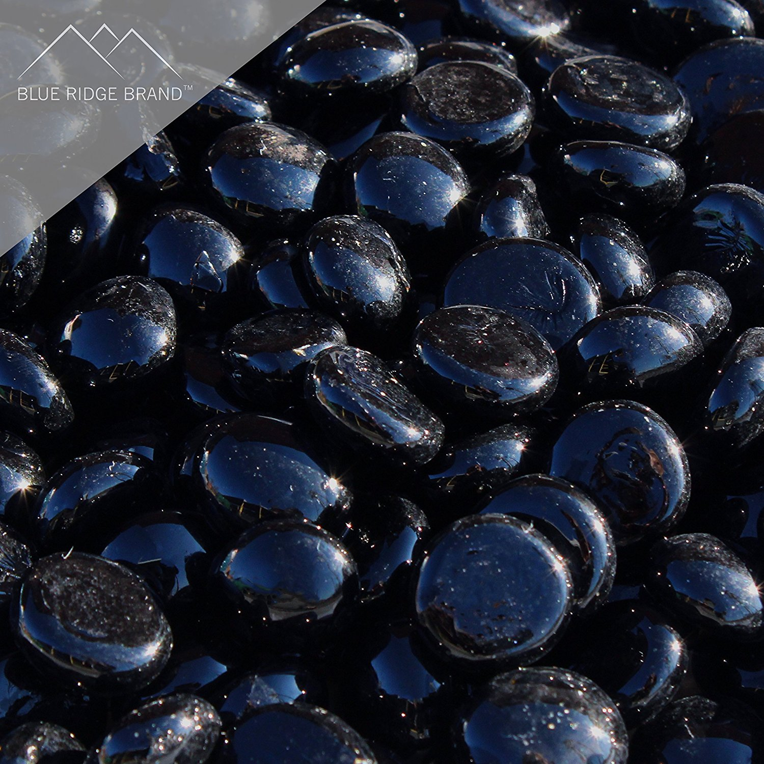 "Fire Pit Glass - Black Reflective Fire Glass Beads 3/4"" - Reflective Fire Pit Glass Rocks - Blue Ridge Brand™ Reflective Glass Beads for Fireplace and Landscaping 3, 5, 10, 20, 50 Pounds"