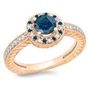 1.00 Carat (ctw) 14K Rose Gold Round Cut Blue   White Diamond Ladies Bridal Vintage Halo Style Engag