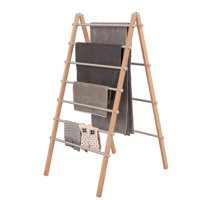INNOKA Wooden Aluminum Folding Laundry Ladder Clothes Drying Rack Clothes Dryer Storage for Indoor/Outdoor - Home Essentials in Smart Adjustable Design, Perfect For Living Room, Balcony, Basement